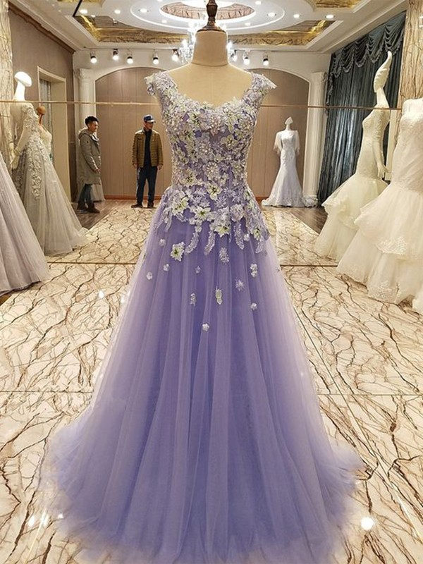 A-Line Sleeveless Scoop Floor-Length Lilac Applique Tulle Evening Dresses