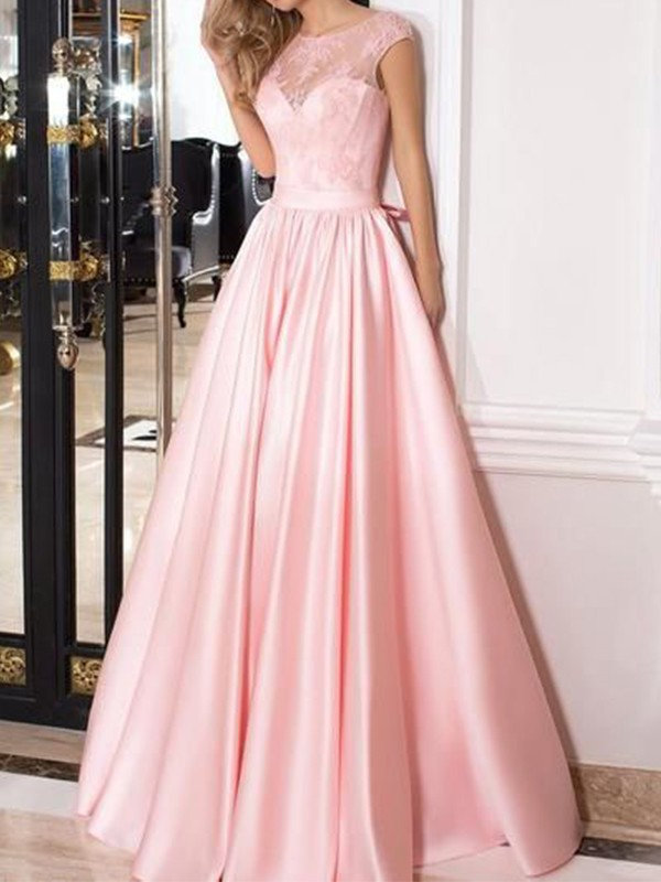 A-Line Sleeveless Pink Sheer Neck Floor-Length Lace Satin Evening Dresses