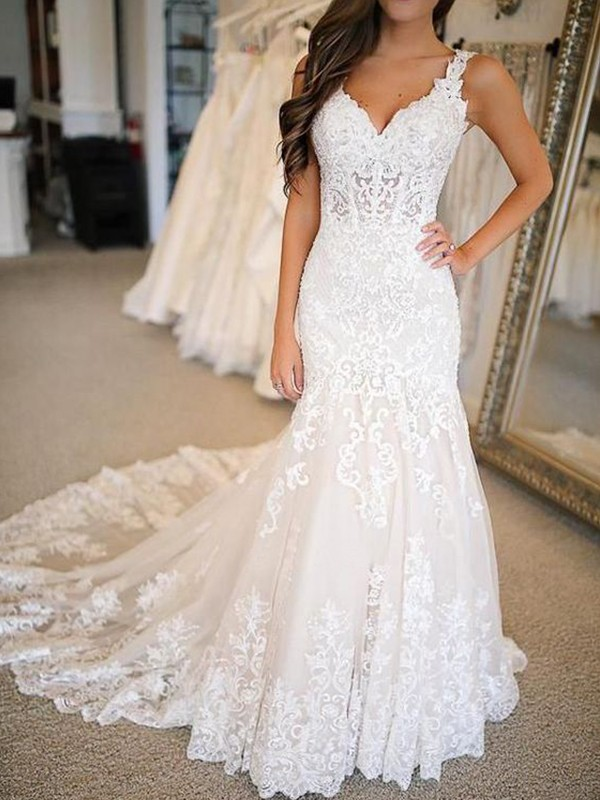 Mermaid Tulle Applique V-neck Sleeveless Brush Train White Wedding Dresses