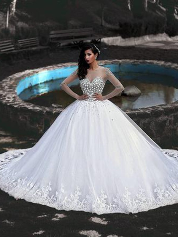 Ball Gown Tulle White Beading Scoop Long Sleeves Brush Train Wedding Dresses