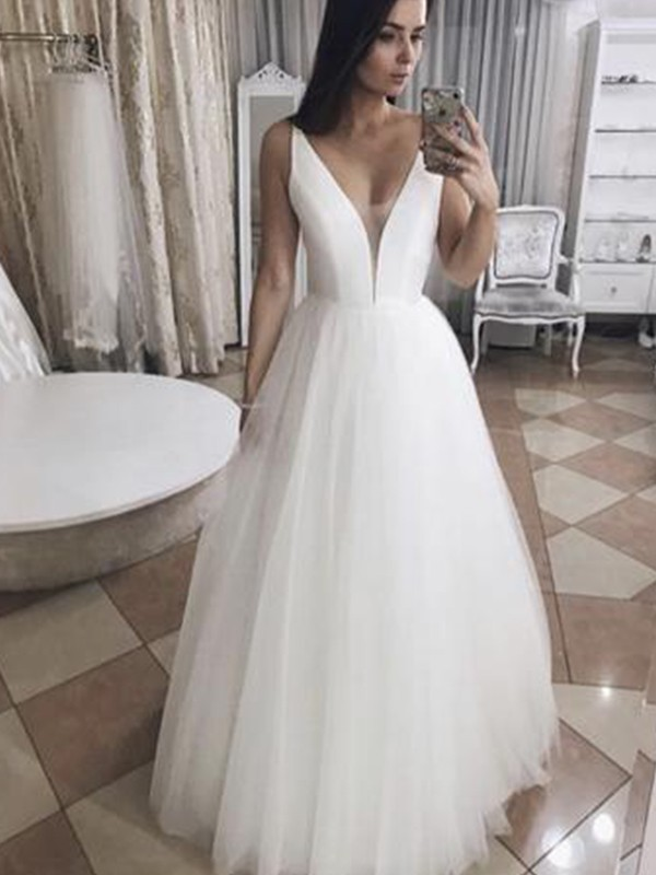 A-Line Tulle White Ruffles V-neck Sleeveless Floor-Length Wedding Dresses