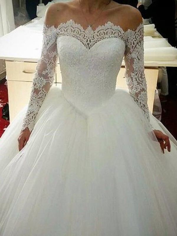 Ball Gown Tulle Applique White Long Sleeves Brush Train Wedding Dresses