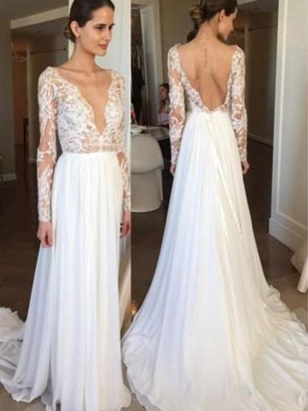 A-Line Chiffon Lace V-neck Long Sleeves Brush Train White Wedding Dresses