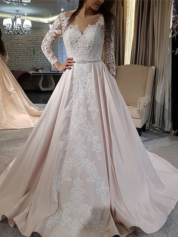A-Line Satin Applique V-neck Pink Long Sleeves Brush Train Wedding Dresses