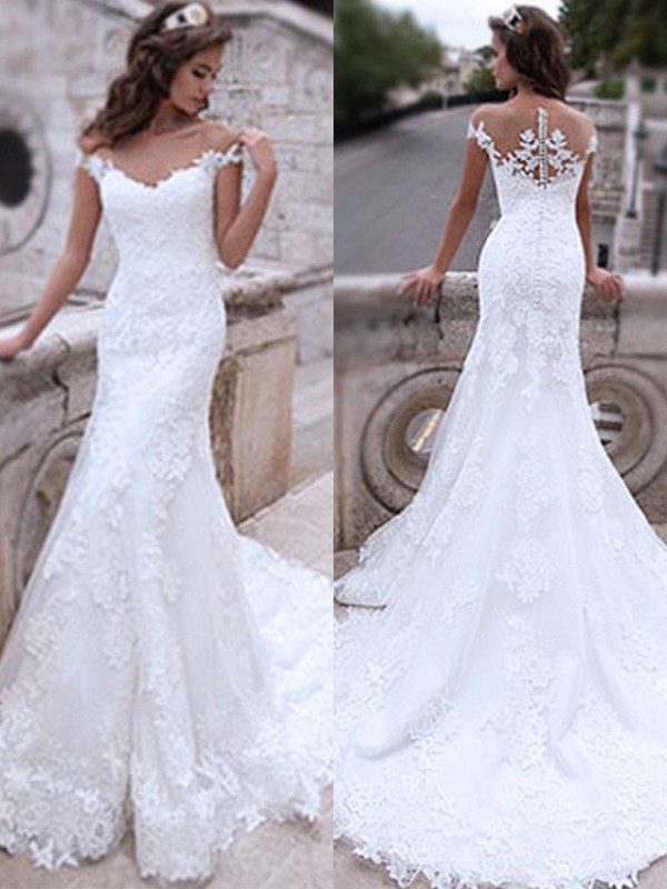 Mermaid Tulle White Applique Off-the-Shoulder Brush Train Wedding Dresses
