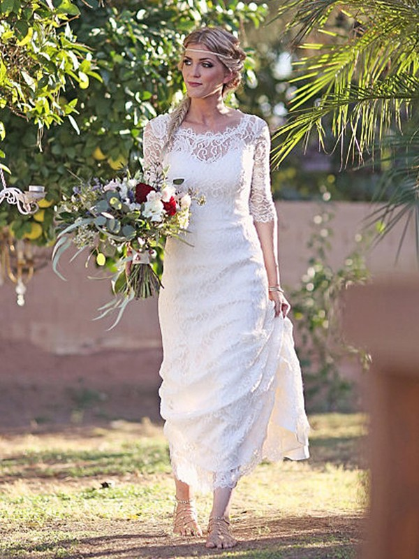 Sheath Lace Bateau 1/2 Sleeves Brush Train White Wedding Dresses