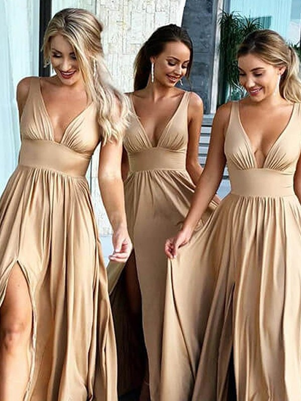 A-Line V-neck Brush Train Ruffles Champagne Silk like Satin Bridesmaid Dresses