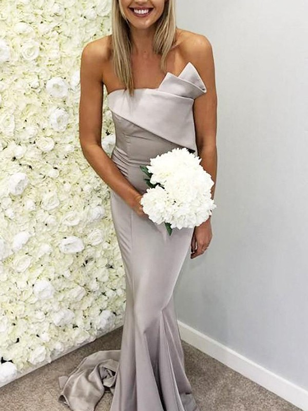 Mermaid Satin Grey Strapless Sleeveless Brush Train Bridesmaid Dresses
