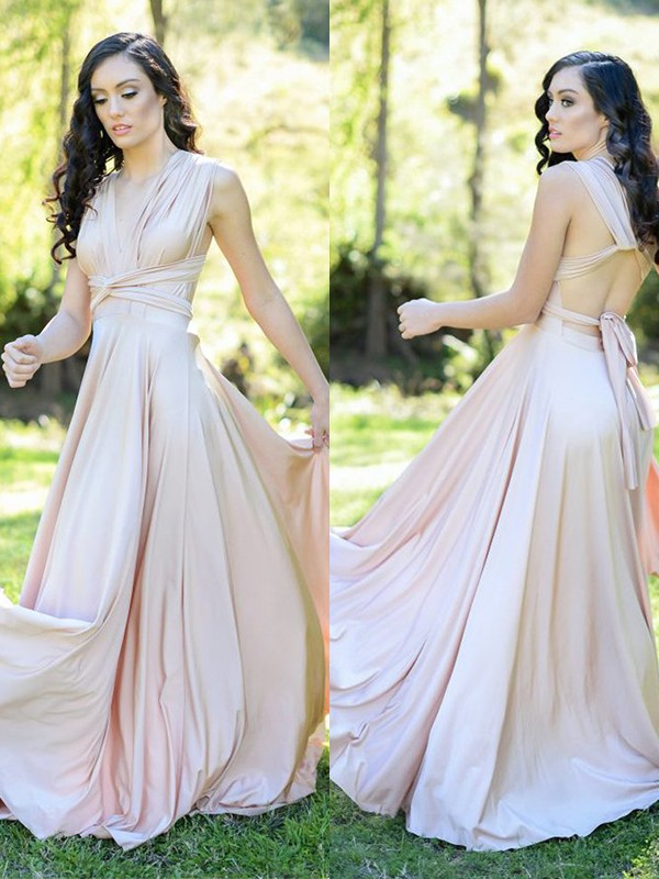 A-Line Silk like Satin Ruffles V-neck Pink Sleeveless Bridesmaid Dresses
