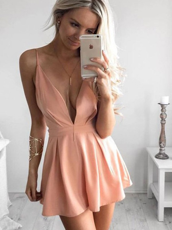 A-Line Silk like Satin Ruffles Pearl Pink Short/Mini Homecoming Dresses