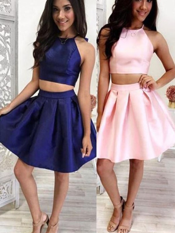 A-Line Satin Ruffles Halter Dark Navy Short/Mini Two Piece Homecoming Dresses