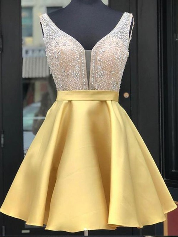 A-Line Satin Beading V-neck Sleeveless Yellow Short/Mini Homecoming Dresses