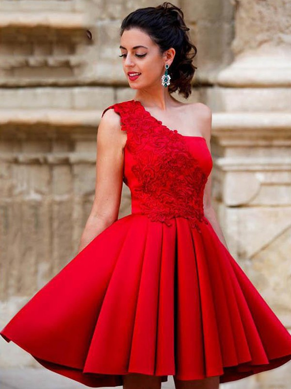 A-Line Satin Applique One-Shoulder Red Sleeveless Short/Mini Homecoming Dresses
