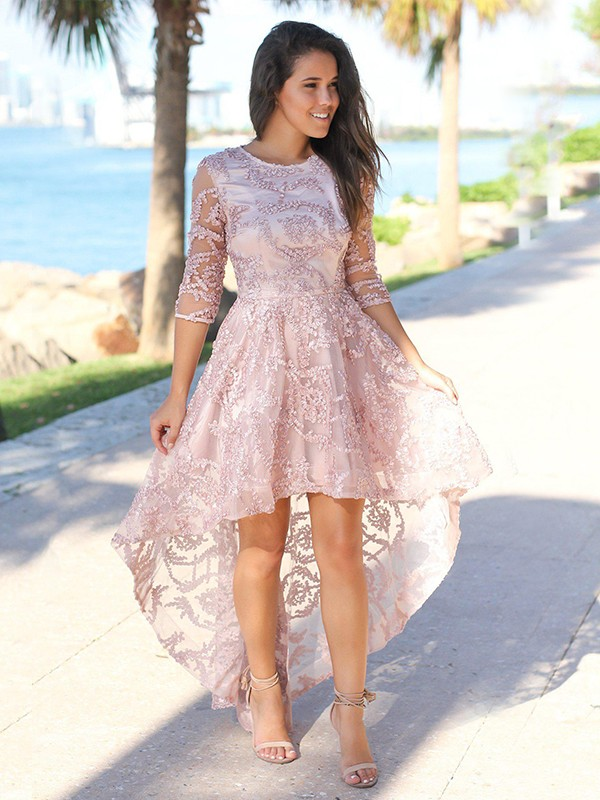 A-Line Satin Applique Sheer Pearl Pink Neck Asymmetrical Homecoming Dresses