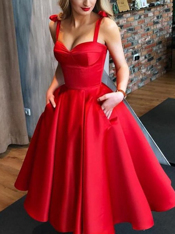A-Line Satin Bowknot Straps Red Sleeveless Tea-Length Homecoming Dresses