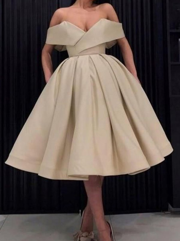 Ball Gown Satin Champagne Off-the-Shoulder Sleeveless Knee-Length Homecoming Dresses
