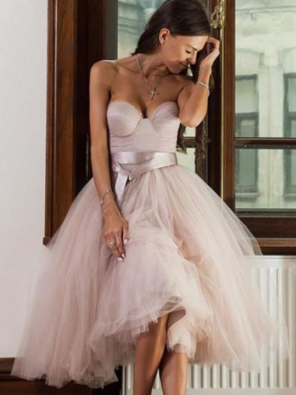 A-Line Tulle Pink Sweetheart Sleeveless Tea-Length Homecoming Dresses