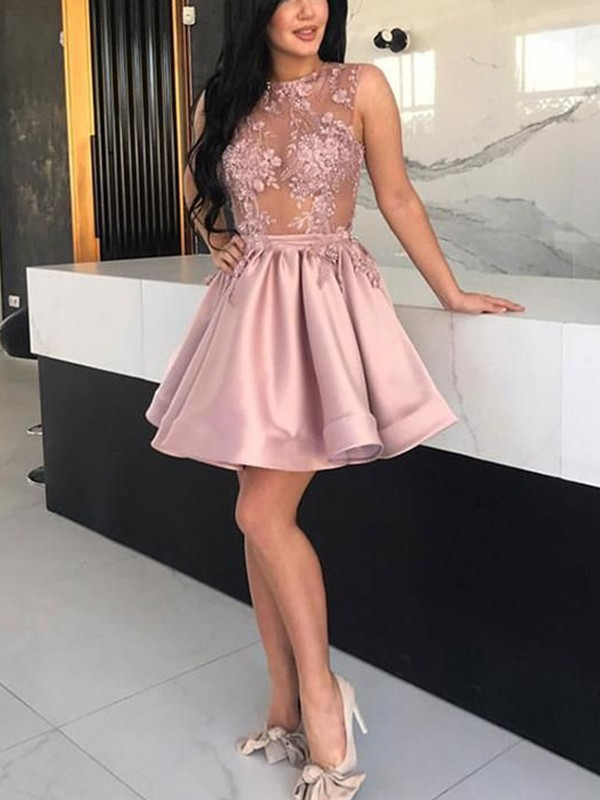 A-Line Satin Applique Sheer Neck Sleeveless Short Homecoming Dresses