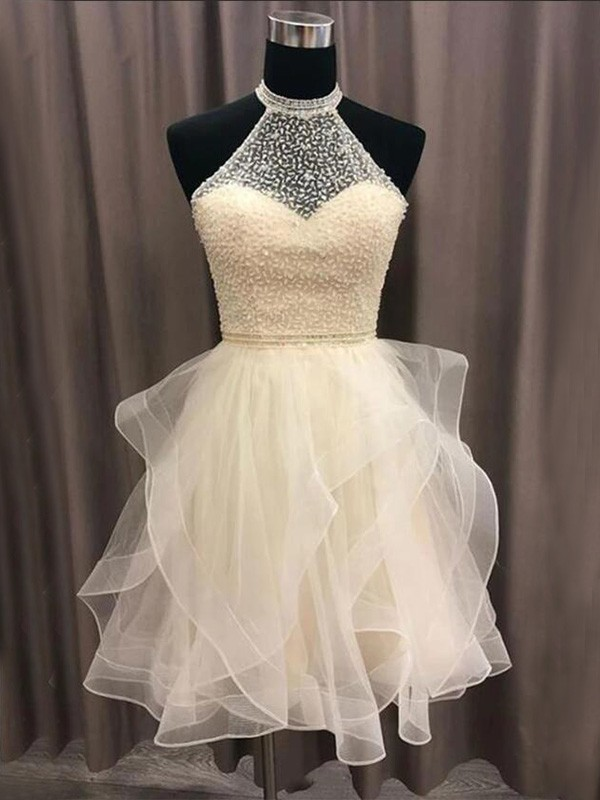 A-Line Organza Beading Daffodil Halter Sleeveless Short/Mini Homecoming Dresses