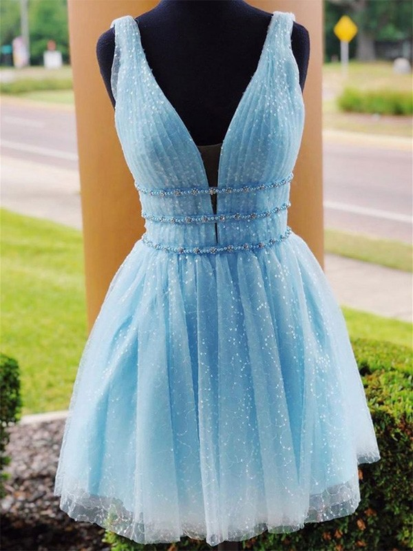 A-Line Tulle Beading V-neck Blue Sleeveless Short/Mini Homecoming Dresses