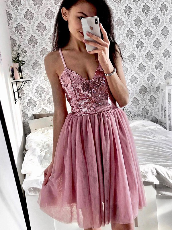 A-Line Tulle Sequin Spaghetti Straps Sleeveless Pink Short/Mini Homecoming Dresses