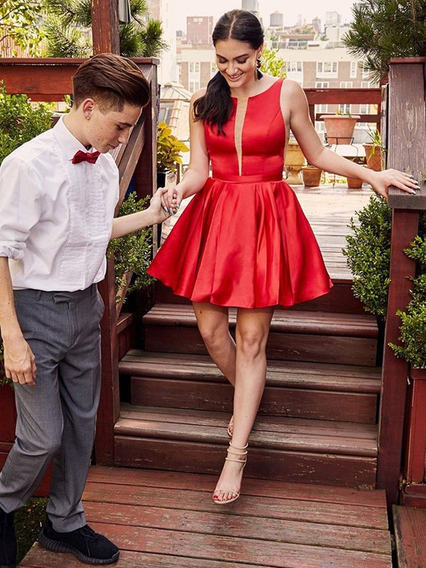 A-Line Satin Ruffles Sheer Neck Red Sleeveless Short/Mini Homecoming Dresses