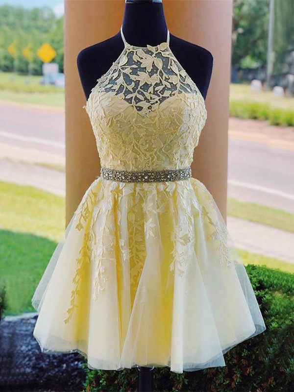 A-Line Tulle Halter Sleeveless Daffodil Applique Short/Mini Homecoming Dresses