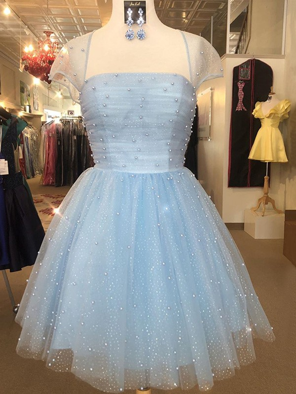 A-Line Tulle Strapless Short Sleeves Light Sky Blue Beading Short/Mini Homecoming Dresses