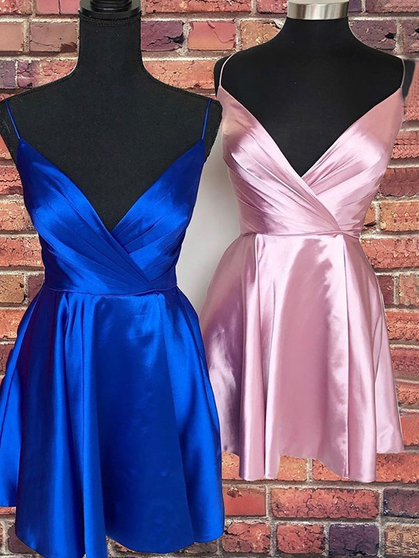 A-Line Satin Royal Blue Spaghetti Straps Sleeveless Ruffles Short/Mini Homecoming Dresses
