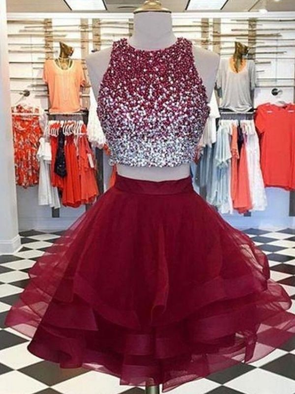 A-Line Scoop Burgundy Sleeveless Organza Beading Short/Mini Homecoming Dresses