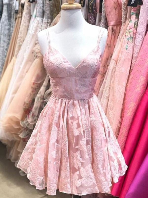 A-Line Spaghetti Straps Sleeveless Lace Pink Ruffles Short/Mini Homecoming Dresses
