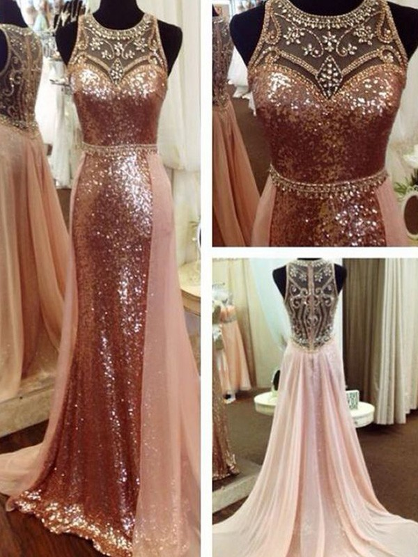 A-Line/Princess Beading Sequins Scoop Sleeveless Sweep/Brush Train Dresses