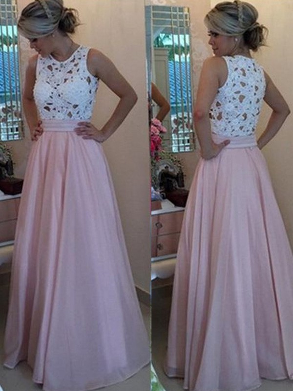 Organza Scoop Floor-Length Pink Prom Dresses
