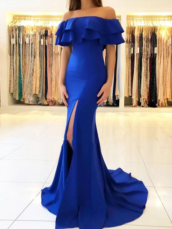 Sheath/Column Sweep/Brush Train Off-the-Shoulder Sleeveless Satin Dresses