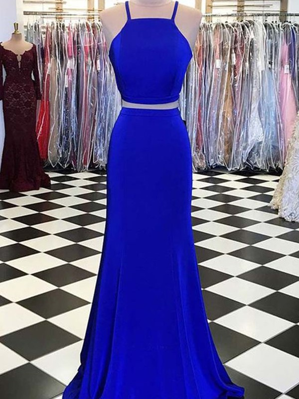 Sheath/Column Sleeveless Spaghetti Straps Satin Ruffles Floor-Length Two Piece Dresses