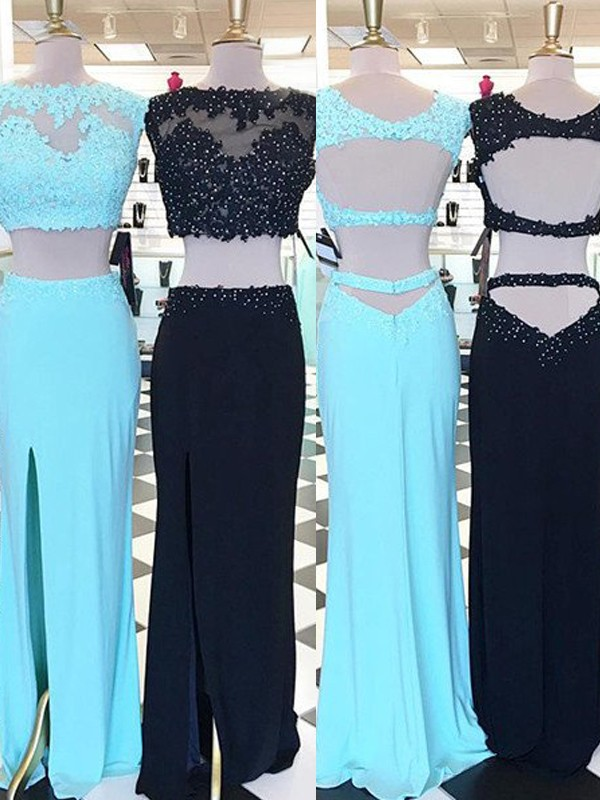 Satin Scoop Floor-Length Blue Prom Dresses