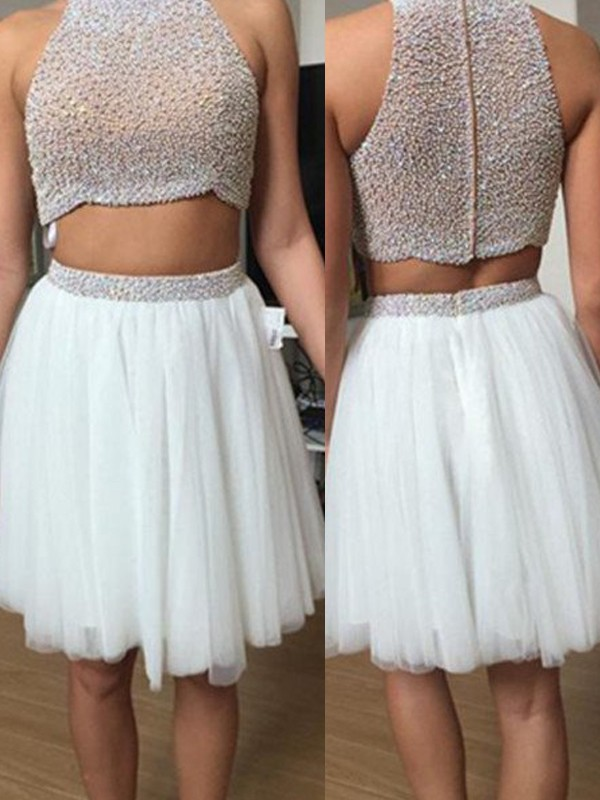 A-Line High Neck Short/Mini White Prom Dresses with Beading