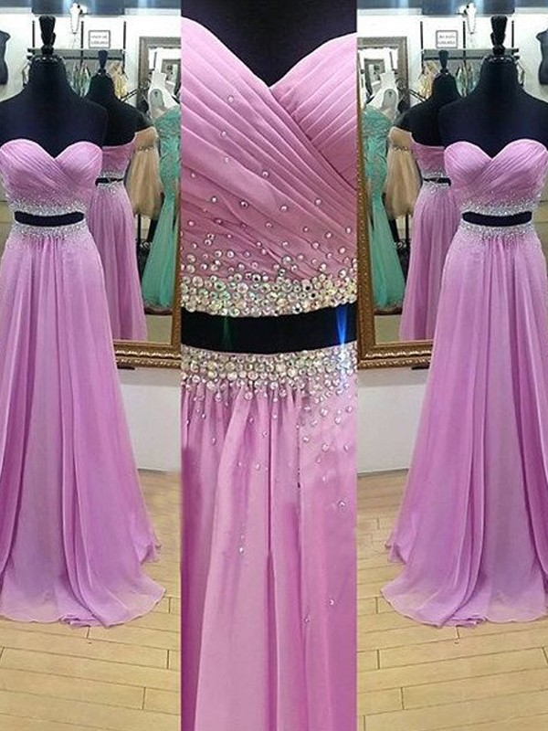 A-Line Sweetheart Floor-Length Lilac Prom Dresses with Beading