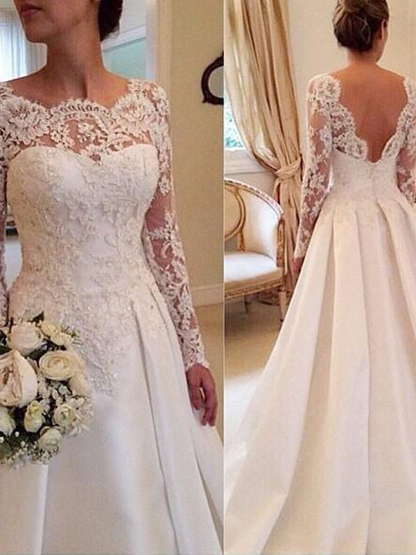 White Ball Gown Scoop Court Train Wedding Dresses with Lace