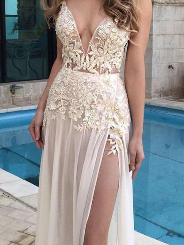 A-Line V-neck Floor-Length Champagne Prom Dresses