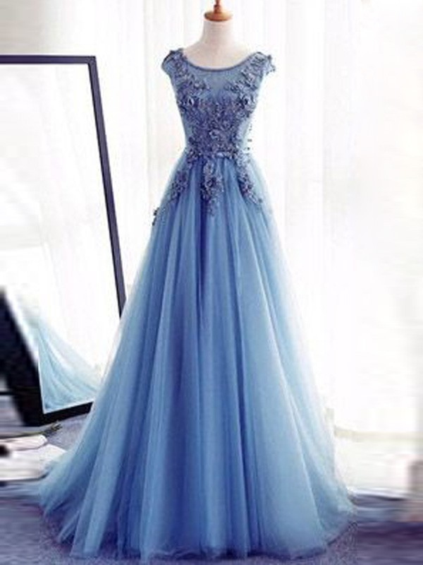 Jewel Brush Train Light Sky Blue Prom Dresses with Applique