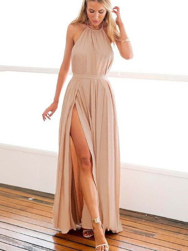 Halter Floor-Length Champagne Prom Dresses with Beading