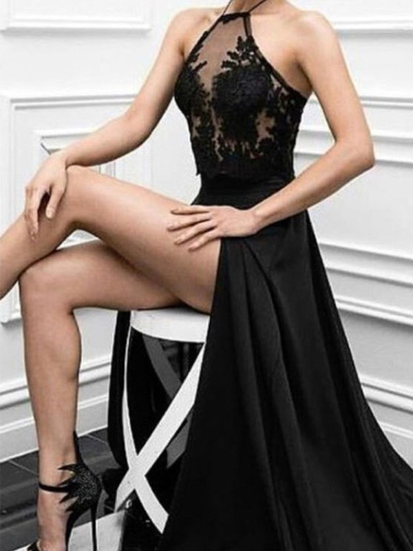 A-Line Halter Floor-Length Black Prom Dresses with Applique
