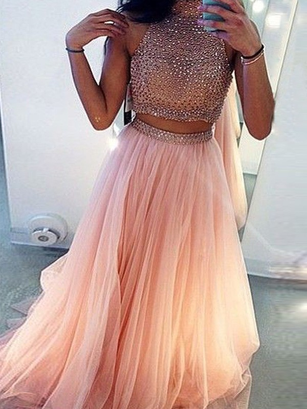 Pink A-Line High Neck Brush Train Prom Dresses with Beading
