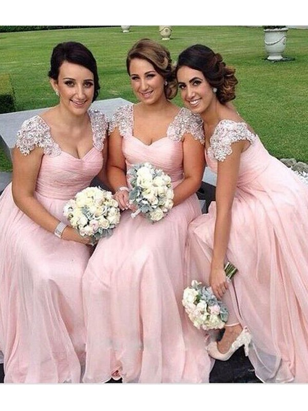 Floor-Length Pink Sweetheart Bridesmaid Dresses with Beading