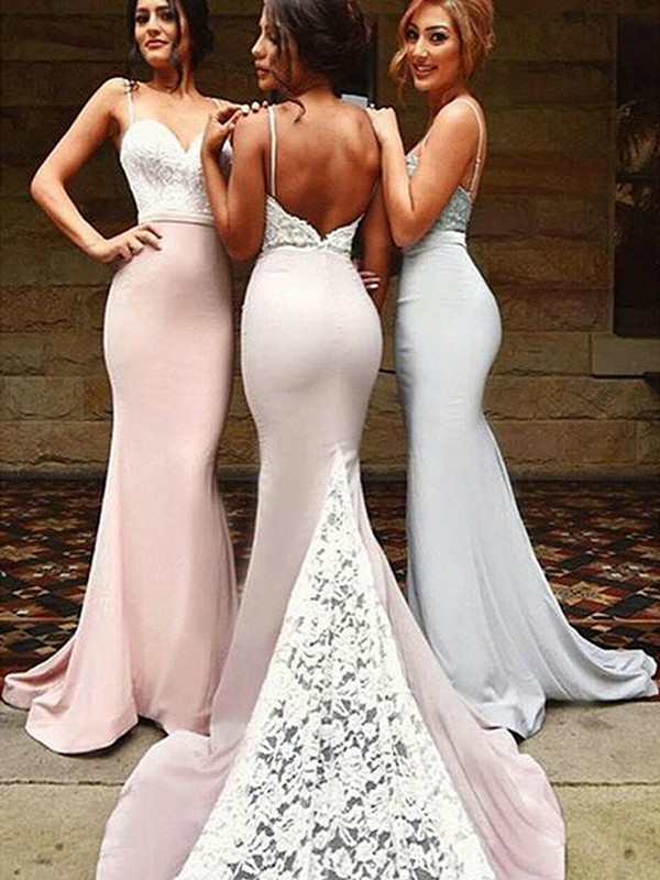 Mermaid Sweetheart Brush Train Pink Bridesmaid Dresses with Lace