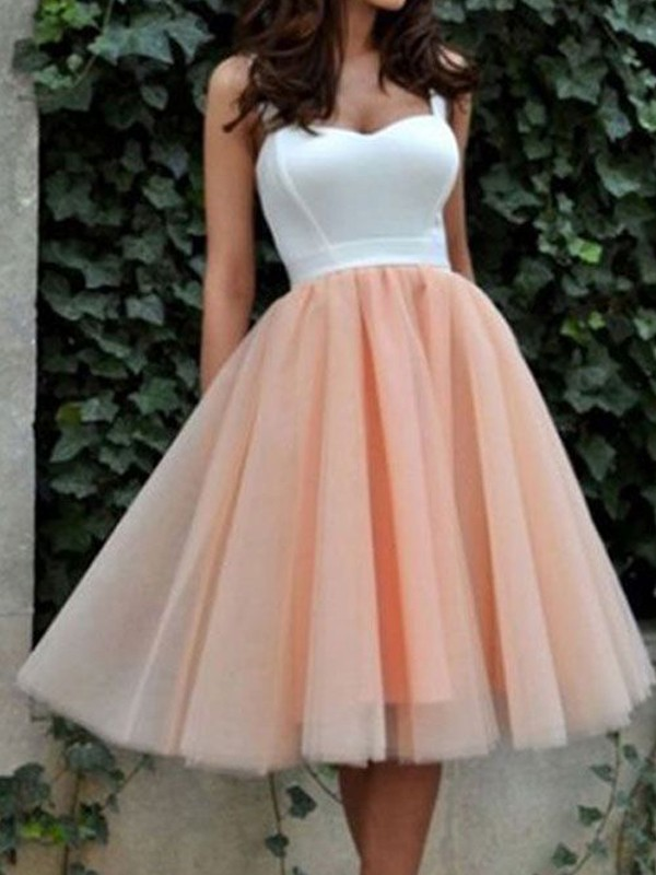Tulle Sweetheart Short/Mini Pink Homecoming Dresses