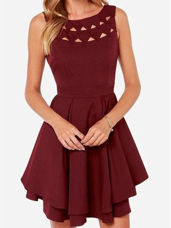 Short/Mini Burgundy Scoop Homecoming Dresses