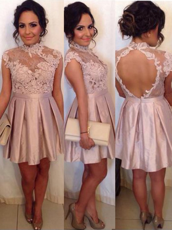 A-Line High Neck Short/Mini Pink Homecoming Dresses with Lace
