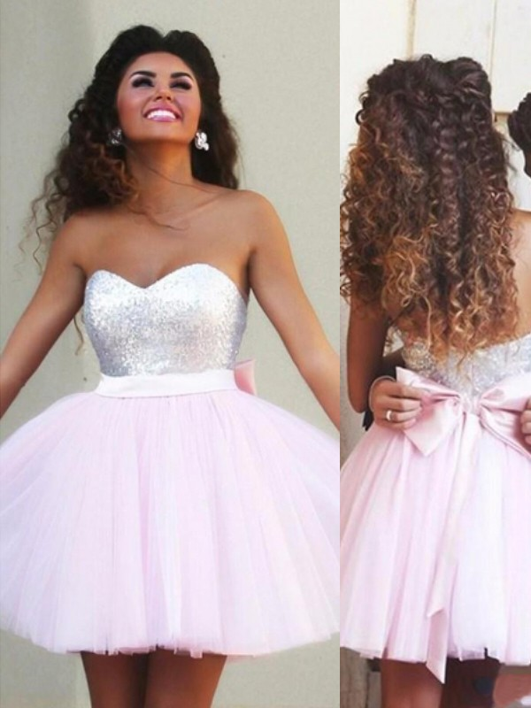 Short/Mini Pink Sweetheart Homecoming Dresses with Beading